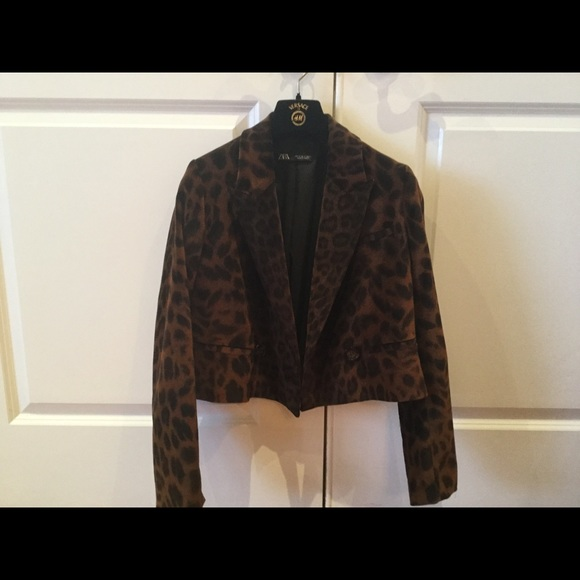 Zara animal print velvet jacket